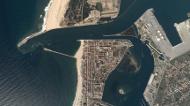 Imagem aérea da praia da Barra.