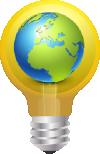imagem de uma lâmpada com o planeta terra